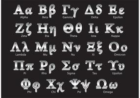 Vetores de alfabeto grego de prata
