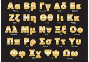 Golden Greek Alphabet Vector