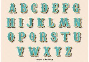 Alfabeto Retro Vintage Estilo vetor