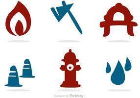 Ícones de silhueta pacote de vetores de bombeiros