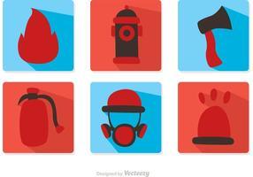 Pacote de vetores de ícones de design plano de bombeiro