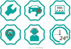Vector de ícones do serviço de concessionária de carros