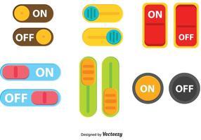 Colorido, desligar, botão, botão, vetorial