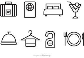Hotel e ícones do vetor de viagens
