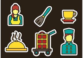 Vetor de ícones de etiqueta de serviço de hotel