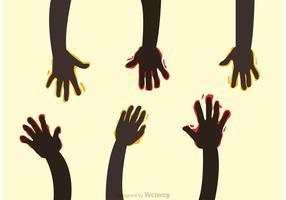 Levante as mãos com os vetores de tinta