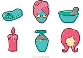 Pacote de vetores de desenhos animados de tratamento de beleza