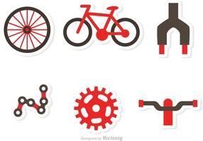 Vetores de ícones de peças de bicicleta