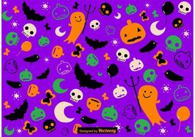 Vetor de padrão de halloween desenhado mão bonito