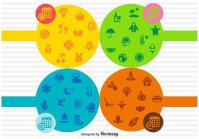 Conjunto de pictogramas sazonais de vetores
