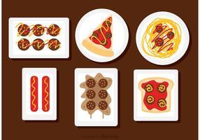 Alimentos nos vetores de placas