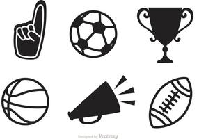 Ícones vetoriais de esportes pretos vetor