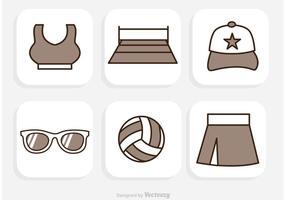 Vector de ícones de voleibol de praia