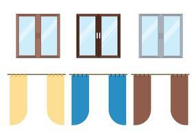 Conjunto de vetores de cortinas de janela