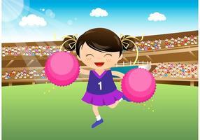 Animadora de menina livre que se apresenta no vetor do estádio