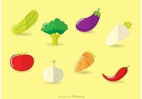 Ícones de vetores de vegetais planos