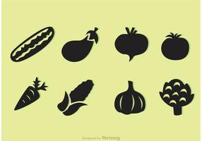 Ícones de vetores de vegetais pretos