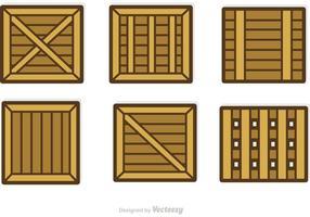 Vetores de recipientes e caixas de madeira