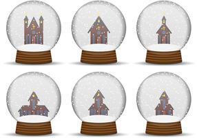 Vetores de globo da neve da igreja