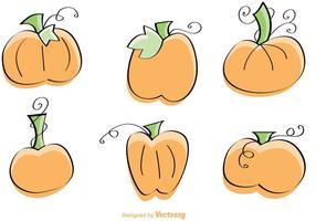 Ilustração desenhada mão do vetor da abóbora desenhada