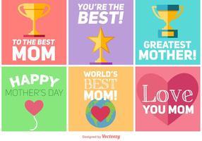 Design feliz dos cartões do dia das mães vetor
