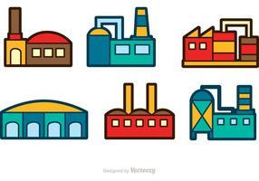 Ícones de vetor de construção de fábrica