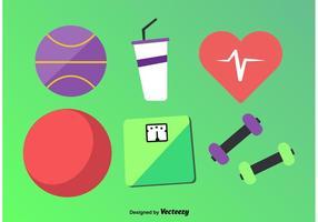 Ícones de vetor de Fitness plano