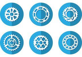 Ícones do vetor da roda dentada da bicicleta