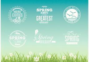 Conjunto de design de vetor tipográfico de primavera livre