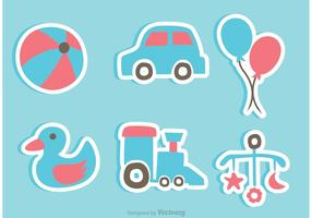Ícones da etiqueta dos brinquedos do bebê vetor