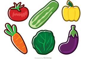 Ícones de legumes de vetores frescos