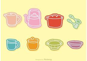 Ícones do Doodle do vetor da cozinha do vintage