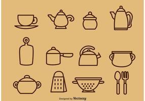 Ícones ilustrados do vetor do utensílio da cozinha do vintage