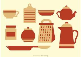 Ícones de vetor de cozinha vintage