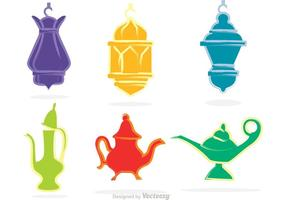 Lâmpada mágica e vetores de lanterna