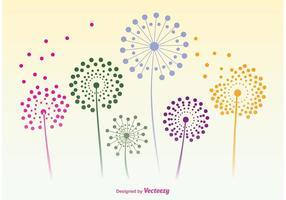 Silhuetas de vetores de flores de dente-de-leão