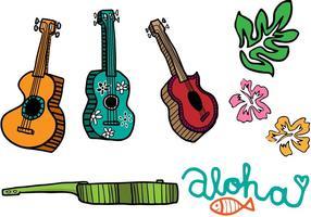 Vetores de ukulele de desenho animado