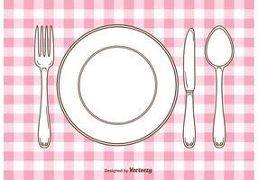 Configuração da mesa de jantar do Gingham de vetores