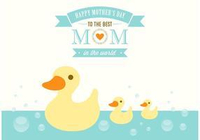 Cartão grátis do vetor do Duckies do dia das mães