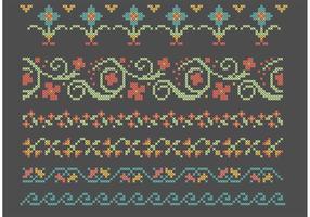 Conjunto de borda de flores de ponto de cruz