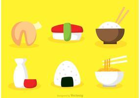 Ícones planos de comida asiática asiática