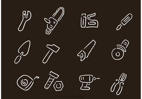 Desenhos desenhados manualmente ferramentas de reparação de construção vetor