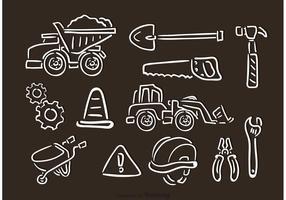 ícones de vetor desenhado giz contruction