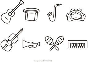 Ícones do vetor do instrumento da música do esboço