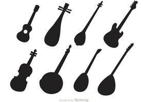 Vetores de instrumentos de cordas de silhueta