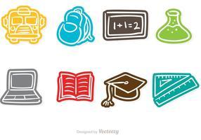 Ícones do vetor do Doodle da escola