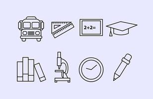 Ícones do vetor do esquema da escola