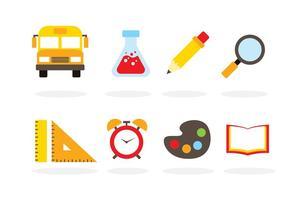 Ícones do vetor da escola plana