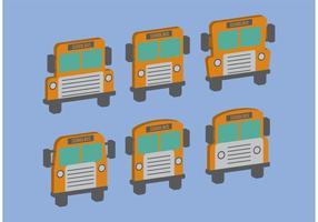Vetores isométricos de ônibus escolares