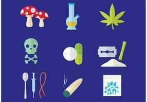 Ícones de vetores de drogas